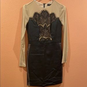 Venues beautiful mini leather dress
